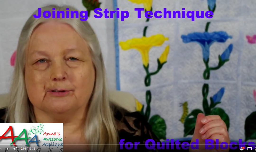 Joining Strip Technique for Quilted Blocks